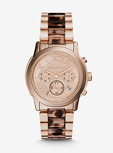 Cooper Rose Gold-Tone Tortoise Acetate Watch by Michael Kors