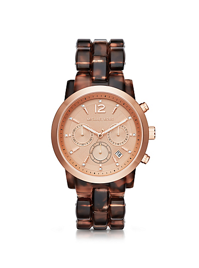 Audrina Tortoise-Acetate and Rose Gold-Tone Watch by Michael Kors