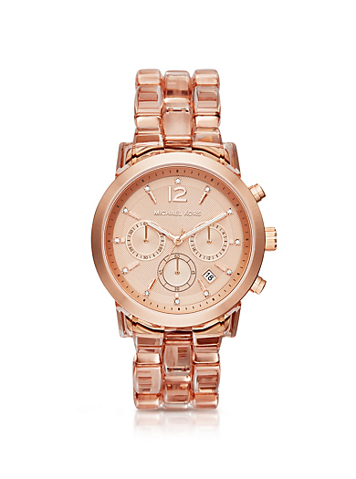 Audrina Blush Acetate and Rose Gold-Tone Watch by Michael Kors