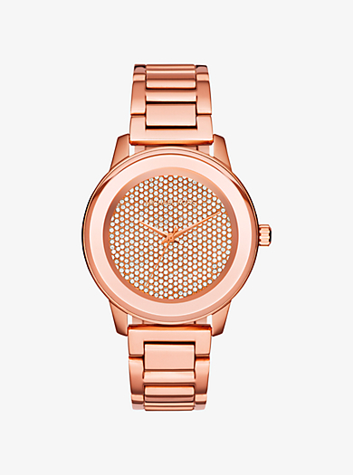 Kinley Pavé Rose Gold-Tone Watch by Michael Kors