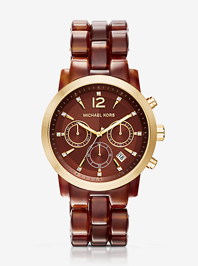 Audrina Amber Acetate and Gold-Tone Watch by Michael Kors