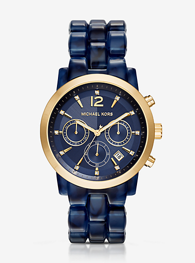 Audrina Navy Acetate and Gold-Tone Watch by Michael Kors
