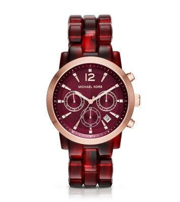Audrina Burgundy Acetate and Rose Gold-Tone Watch
