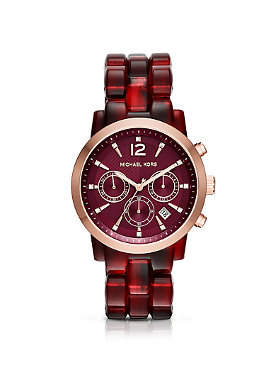 Audrina Burgundy Acetate and Rose Gold-Tone Watch by Michael Kors