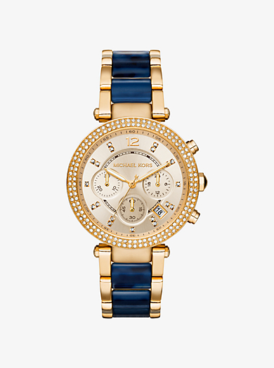 Parker Pavé Gold-Tone and Navy Acetate Watch by Michael Kors