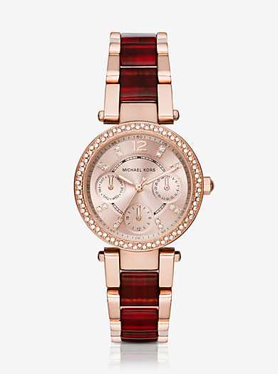 Parker Pavé Rose Gold-Tone And Burgundy Acetate Watch by Michael Kors