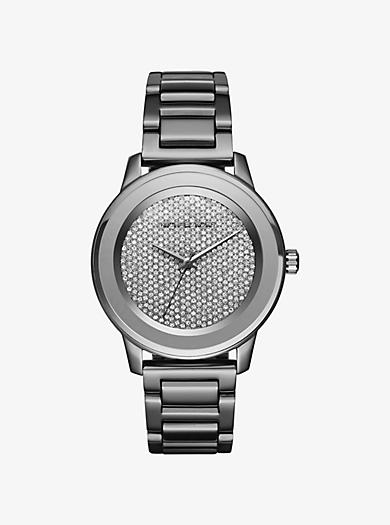 Kinley Pavé Gunmetal-Tone Watch by Michael Kors