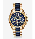 Oversize Bradshaw Gold-Tone and Navy Acetate Watch