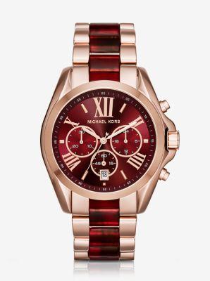 Oversize Bradshaw Rose Gold-Tone and Burgundy Acetate Watch