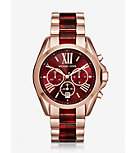 Oversize Bradshaw Rose Gold-Tone and Burgundy Acetate Watch
