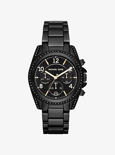 Blair Pavé Black-Tone Watch  by Michael Kors