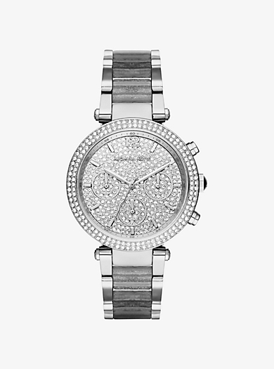 Parker Pavé Silver-Tone and Glitter Acetate Watch by Michael Kors