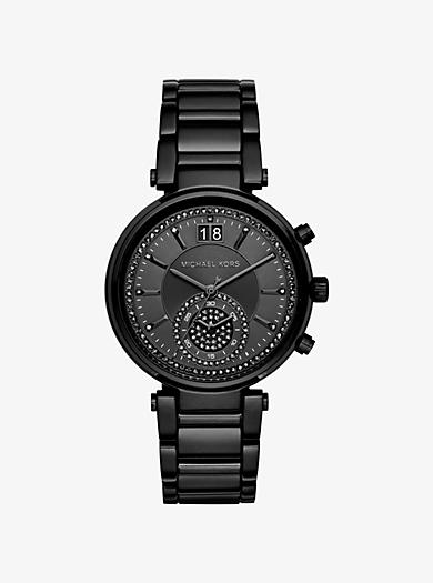 Sawyer Black-Tone Watch by Michael Kors