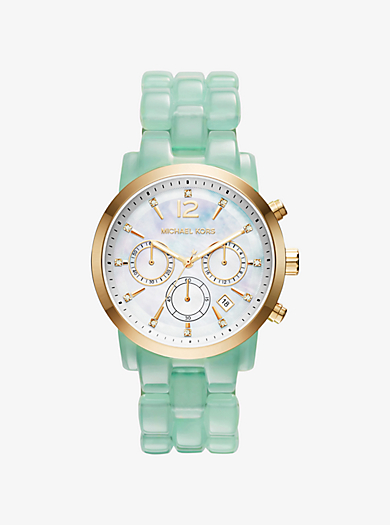Audrina Gold-Tone and Acetate Watch by Michael Kors