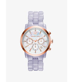 Audrina Rose Gold-Tone and Clear Acetate Watch by Michael Kors