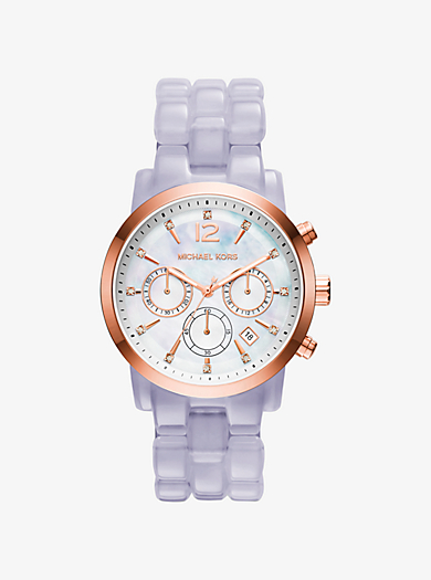 Audrina Rose Gold-Tone and Wisteria Acetate Watch by Michael Kors