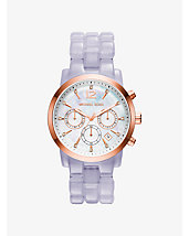 Audrina Rose Gold-Tone and Wisteria Acetate Watch