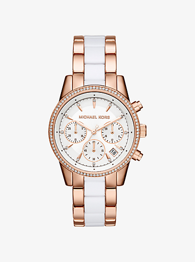 Ritz Pavé Rose Gold-Tone and Acetate Watch by Michael Kors