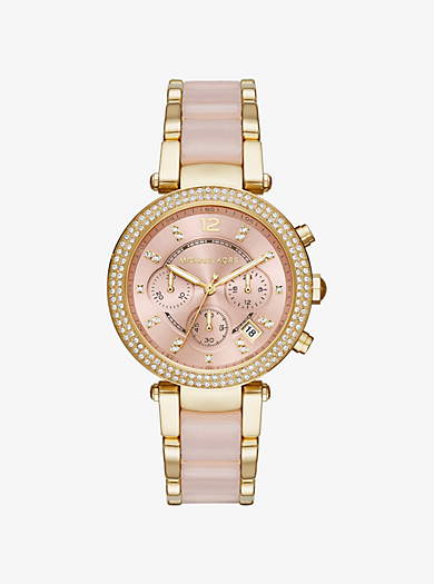 Parker Pavé Gold-Tone and Acetate Watch by Michael Kors