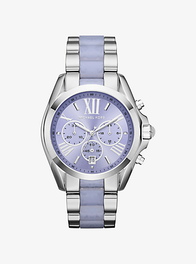 Bradshaw Silver-Tone and Acetate Watch by Michael Kors