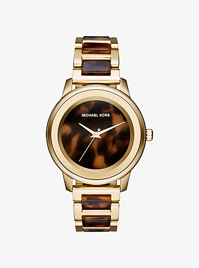 Oversize Kinley Gold-Tone and Tortoise-Acetate Watch  by Michael Kors