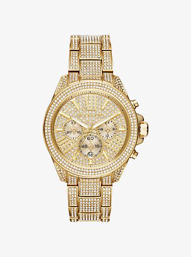 Wren Pavé Gold-Tone Watch by Michael Kors