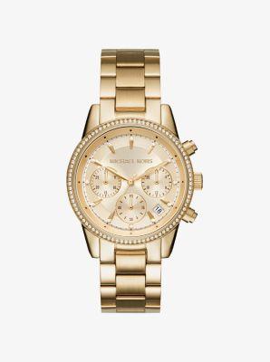 마이클 코어스 메탈 시계 골드 Michael Kors Ritz Pave Gold-Tone Watch,GOLD