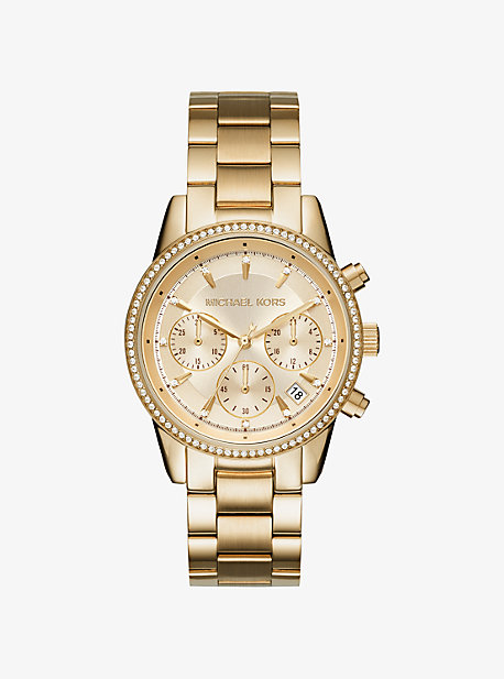 Ritz Pave Gold-Tone Watch