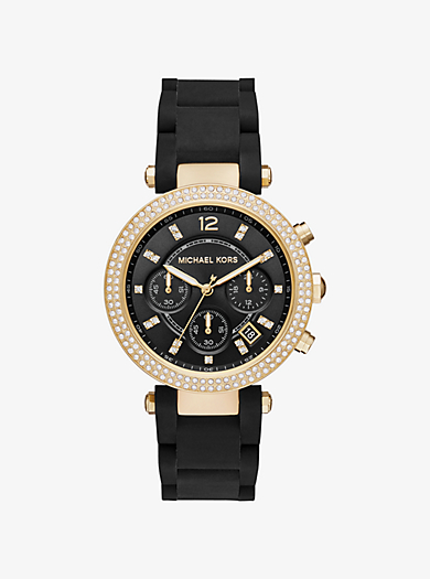Parker Pavé Gold-Tone and Silicone Watch by Michael Kors