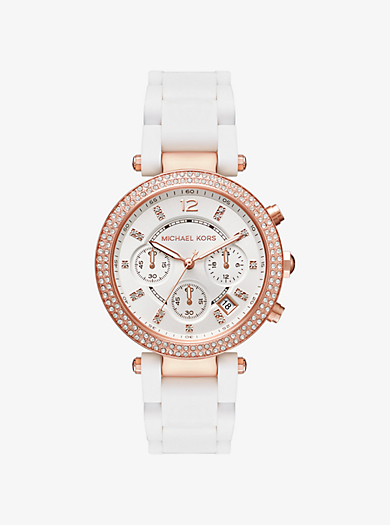 Parker Pavé Rose Gold-Tone and Silicone Watch by Michael Kors