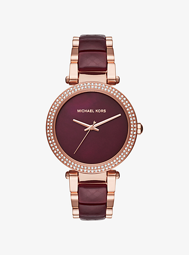 Parker Rose Gold-Tone and Acetate Watch by Michael Kors