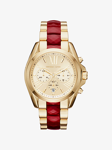 Bradshaw Gold-Tone and Acetate Watch by Michael Kors