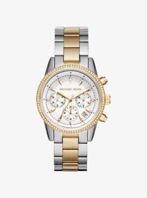 Michael Kors Ritz Pave Two-Tone Watch,SILVER