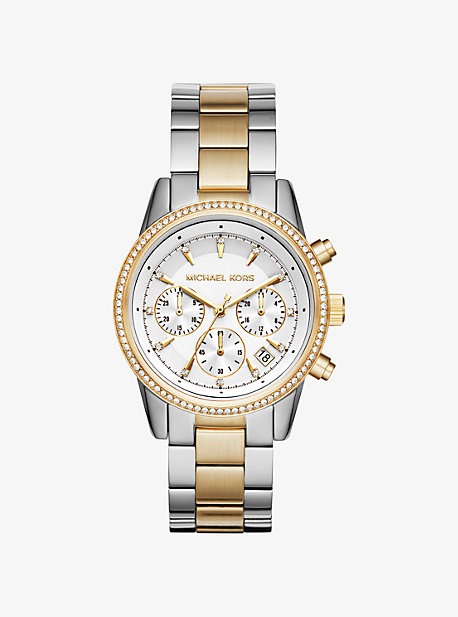 Ritz Pave Two-Tone Watch