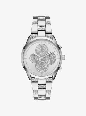 Michael Kors Slater Pave Silver-Tone Watch,SILVER