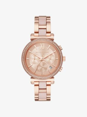 마이클 코어스 메탈 시계 Michael Kors Sofie Pave Rose Gold-Tone and Acetate Watch,ROSE GOLD
