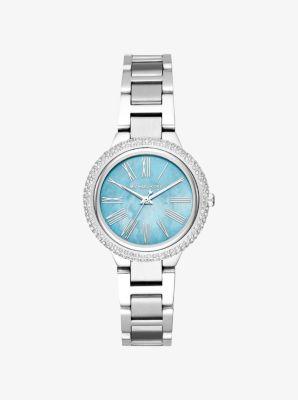 Michael Kors Mini Taryn Pave Silver-Tone Watch,SILVER