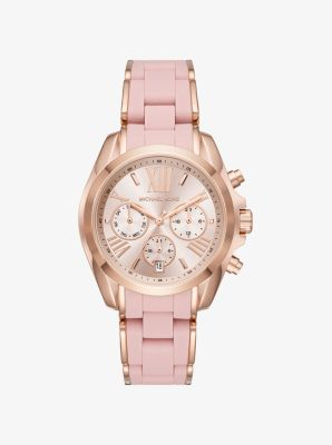 Michael Kors Bradshaw Rose Gold-Tone and Silicone Watch,ROSE GOLD