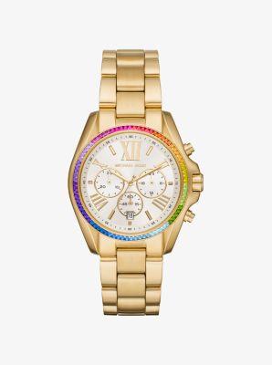 마이클 코어스 메탈 시계 Michael Kors Bradshaw Rainbow Pave Gold-Tone Watch,GOLD