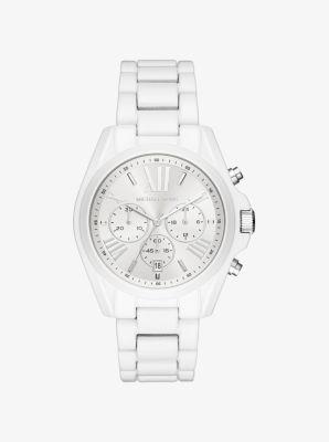 Michael Kors Bradshaw White-Coated Watch,WHITE