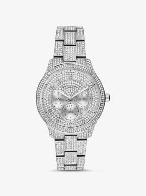 Michael Kors Runway Pave Silver-Tone Watch,SILVER