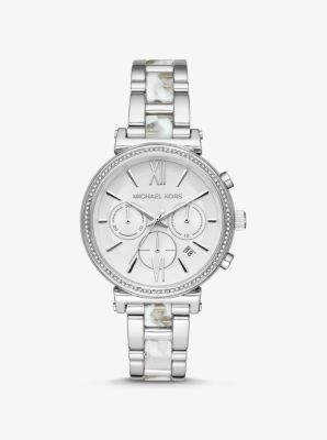 Michael Kors Sofie Pave Silver-Tone and Acetate Watch,SILVER