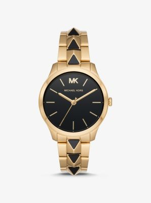 Michael Kors Runway Mercer Gold-Tone and Onyx Watch,GOLD