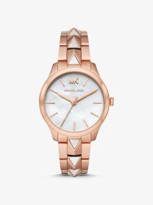 Michael Kors Runway Mercer Rose Gold-Tone and Pearl Watch,ROSE GOLD