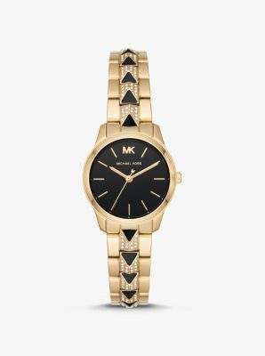 Michael Kors Petite Runway Mercer Pave Gold-Tone and Onyx Watch,GOLD