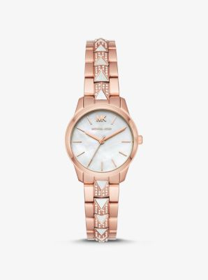 Michael Kors Petite Runway Mercer Pave Rose Gold-Tone and Pearl Watch,ROSE GOLD