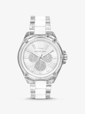 Michael Kors Wren Acetate and Silver-Tone Watch,WHITE