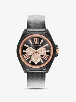Michael Kors Wren Embossed Watch,BLACK