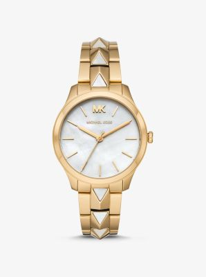 Michael Kors Runway Mercer Gold-Tone and Pearl Watch,GOLD