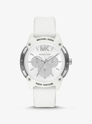 마이클 코어스 손목시계  Michael Kors Ryder Embossed Silicone and Silver-Tone Watch,WHITE